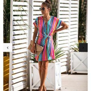 Vici Over the Rainbow Wrap Dress